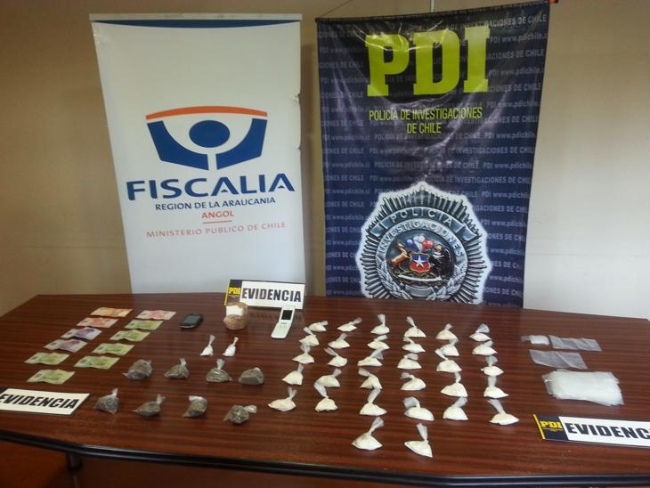 PDI incauta cocaína Base y Marihuana en el Maule