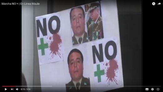 """[Video] Un numeroso grupo de personas adhirió a la movilización de apoyo a Carabineros llamada """"No +""""."""