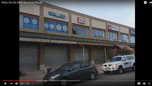 """[Video] Nuevo robo a un local comercial quedó al descubierto en Talca, afectando al conocido """"Donde Alex""""."""