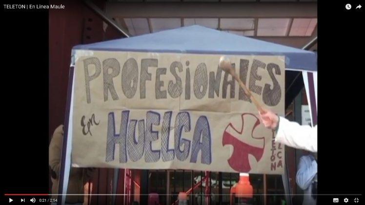 [Video] Profesionales de la fundación Teletón en Talca se unieron a movilización nacional.