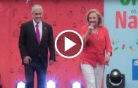 """Presidente Piñera y primera dama, cierran en Talca, la obra """"destellos de navidad""""."""