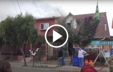 Voraz incendio deja ocho damnificados en sector norte de Talca.