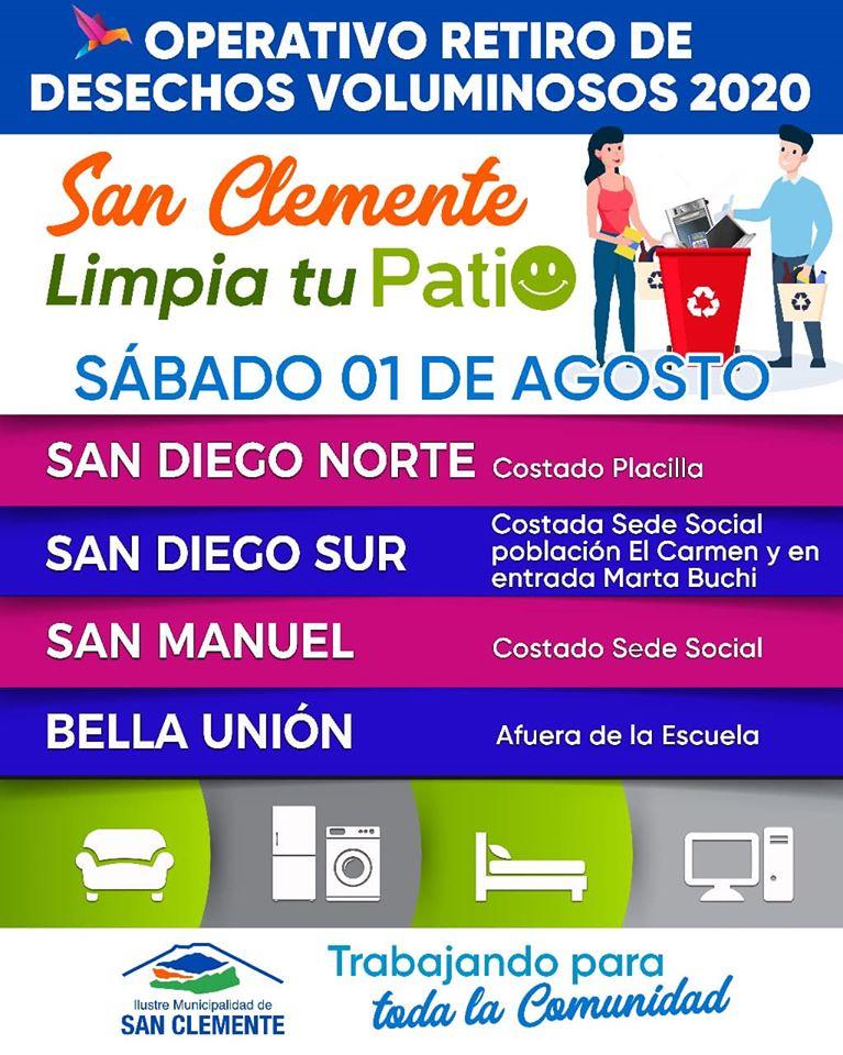 San Diego Norte y Sur, San Manuel y bella unión en Sana Clemente recibirán este fin de semana un nuevo operativo de desechos voluminosos