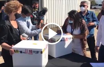 El ministerio de transporte y la federación aérea de Chile refuerzan la distribución de vacunas contra el covid-19 con el aporte de la aviación civil. club aéreo de Talca trasladó cargamento a la región